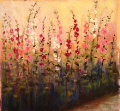 """Day 20 Hollyhocks"" original fine art by Angeli Petrocco Coover"