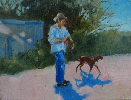 """""""Walking the Dog"""" original fine art by Connie Snipes"""