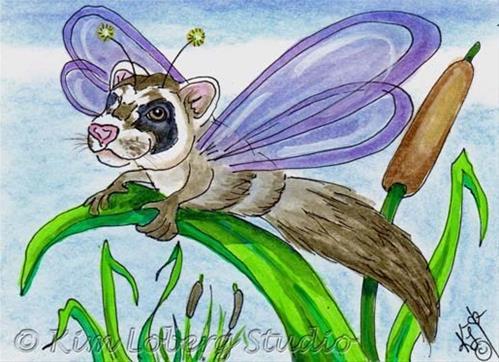"""""""Ferret Dragon Fly"""" original fine art by Kim Loberg"""