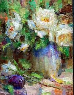 """Plum and Roses"" original fine art by Julie Ford Oliver"