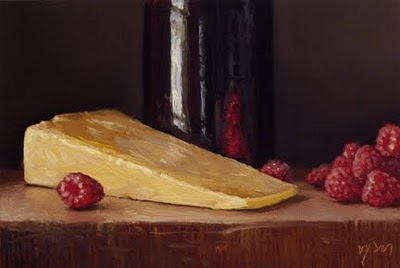 """""""Raspberries, Keen's Cheddar, and Tenmoku Bottle"""" original fine art by Abbey Ryan"""