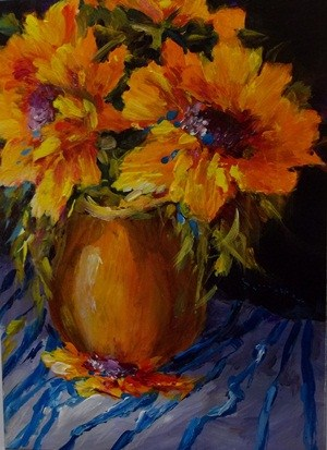 """Sunflowers and Blue Stripes"" original fine art by Alice Harpel"