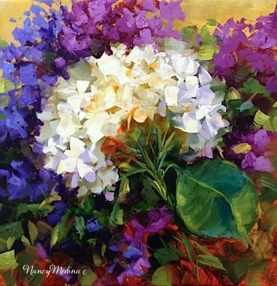 """Hothouse Hydrangeas and Meet the Artist - Flower Paintings by Nancy Medina"" original fine art by Nancy Medina"