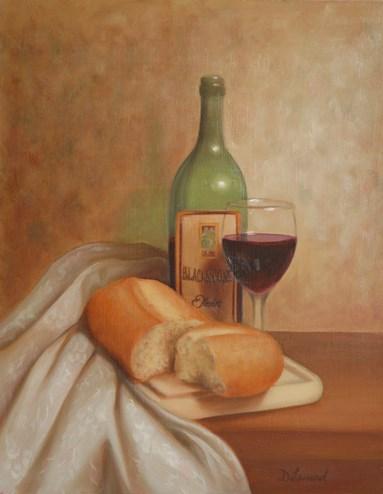 """""""Bread & Wine #706"""" original fine art by Dee Lessard"""