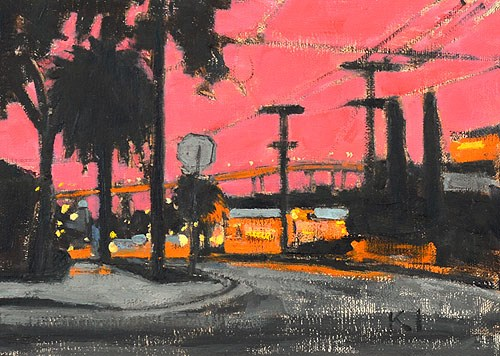 """Sunset in Sherman Heights"" original fine art by Kevin Inman"
