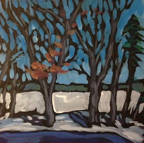 """Kathy & Larry's Backyard"" original fine art by Kat Corrigan"