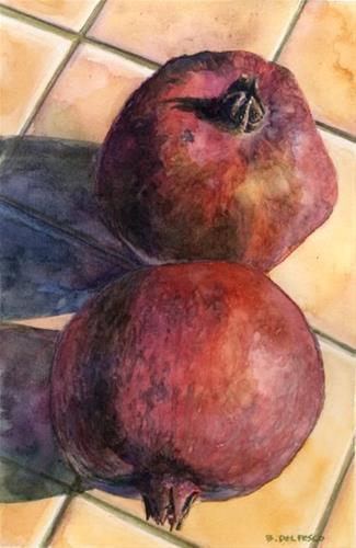"""Watercolor: Pomegranates (& three watercolor tutorial videos to get you started)"" original fine art by Belinda Del Pesco"