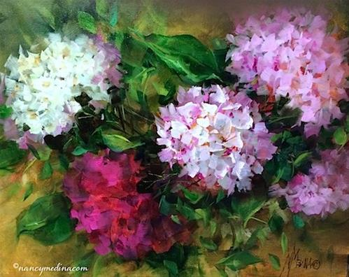 """""""Dusted Pink Hydrangeas, a New Sunflower DVD, and a Dallas Arboretum Workshop - Flower Paintings by N"""" original fine art by Nancy Medina"""