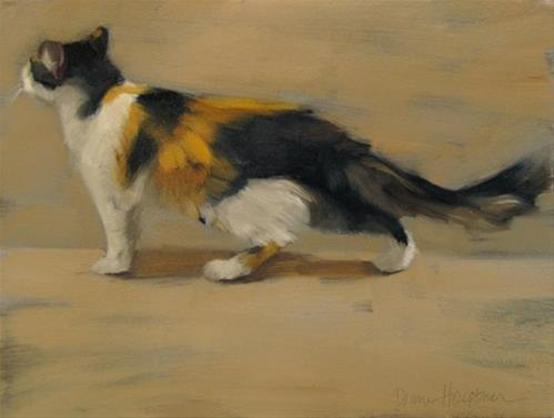 """Passing By long hair Calico cat painting"" original fine art by Diane Hoeptner"