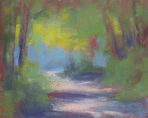 """Woodland Path Original Pastel Painting"" original fine art by Karen Margulis"