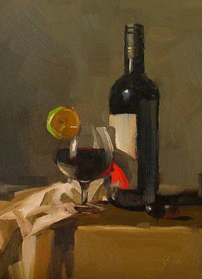 """""""Red Wine --- Sold"""" original fine art by Qiang Huang"""