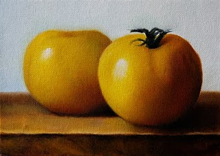 """Yellow Tomatoes"" original fine art by Jonathan Aller"