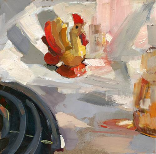 """""""My Rooster Salt and/or Pepper Shaker that Sits on the Stove #89"""" original fine art by Lisa Daria"""