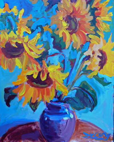 """""""Sunflowers in a Vase"""" original fine art by Darlene Young"""