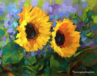 """Violet Spotlight Sunflowers and a New Painting Video - Flower Paintings by Nancy Medina Art"" original fine art by Nancy Medina"