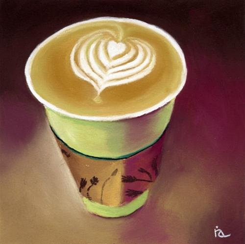 """Latte pastel painting"" original fine art by Ria Hills"