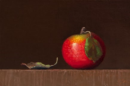 """""""Autumnal Apple with Leaves  (+ Peto Museum Workshop Announcement)"""" original fine art by Abbey Ryan"""