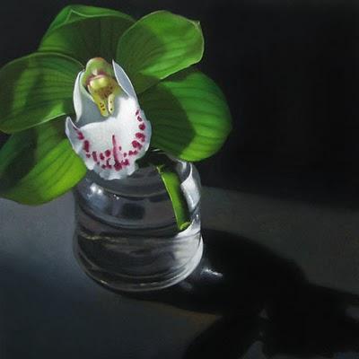 """Cymbidium  6x6"" original fine art by M Collier"