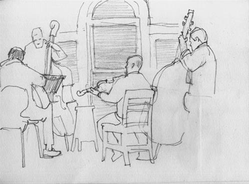 """Drawing the music"" original fine art by Kathy Weber"