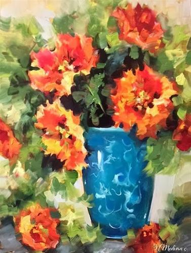 """Wild at Heart Orange Parrot Tulips by Floral Artist Nancy Medina"" original fine art by Nancy Medina"