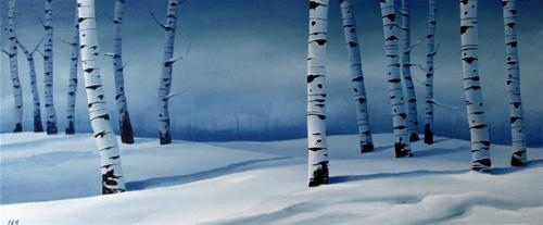 """Snowy Blue Birch"" original fine art by ~ces~ Christine E. S. Code"