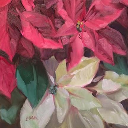 """Poinsettia #3"" original fine art by Elaine Juska Joseph"