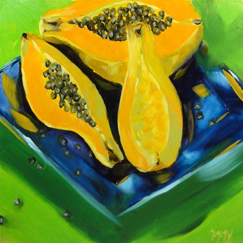 """Papaya Split Complimentary"" original fine art by Dalan Wells"