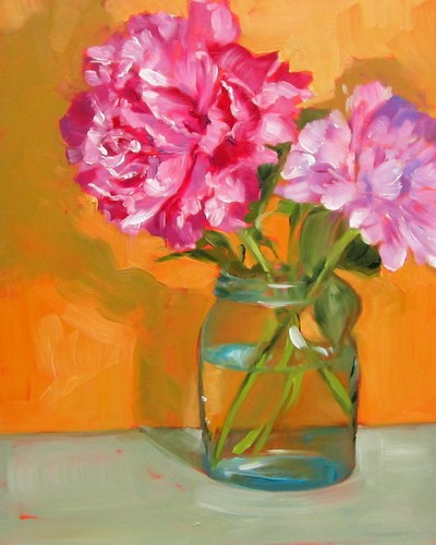 """Pink Peonies"" original fine art by Sandy Haynes"