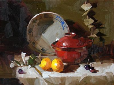 """Soup and Fruit --- Sold"" original fine art by Qiang Huang"