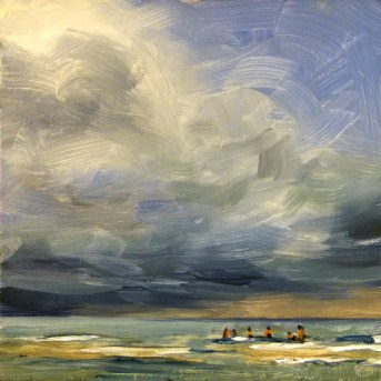 """""""Oil Painting of Clouds Over the Sandbar"""" original fine art by Deb Anderson"""
