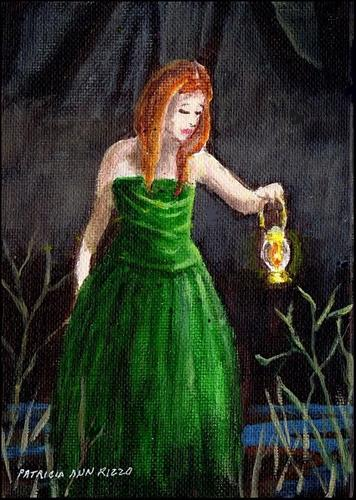 """""""Girl in the Green Gown"""" original fine art by Patricia Ann Rizzo"""
