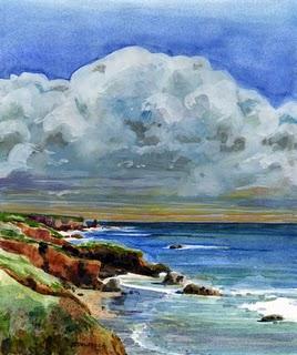 """Watercolor: Pacific Coast Clouds"" original fine art by Belinda Del Pesco"