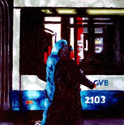 """Two Women And A Tram"" original fine art by Gerard Boersma"