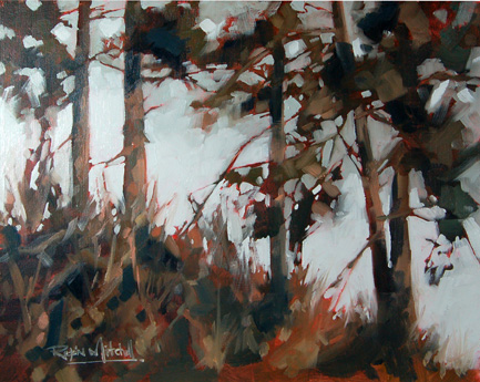 """No 317 Ever Green Trees"" original fine art by Robin J Mitchell"