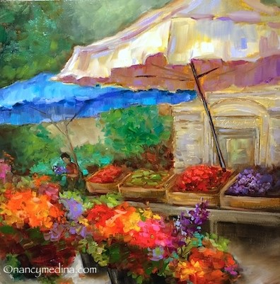 """Shopping Open Air Markets in Southern France - French Dahlias Flower Market - Paintings by Nancy Med"" original fine art by Nancy Medina"