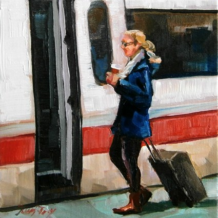 """""""traveling girl"""" original fine art by Jurij Frey"""