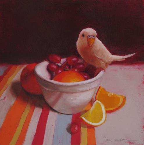 """Canary and Fruit"" original fine art by Diane Hoeptner"