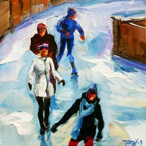 """Eislauf im gorki park"" original fine art by Jurij Frey"