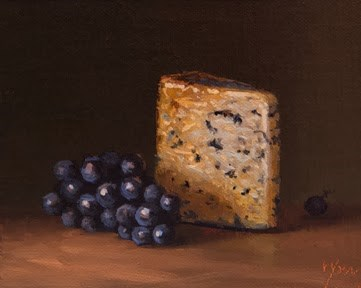 """Concord Grapes with Valdeón Blue (Made in Spain)   (+ My Upcoming Travels to Spain)"" original fine art by Abbey Ryan"