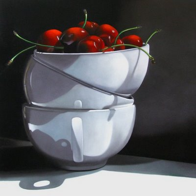 """""""Cups and Cherries 24x24"""" original fine art by M Collier"""