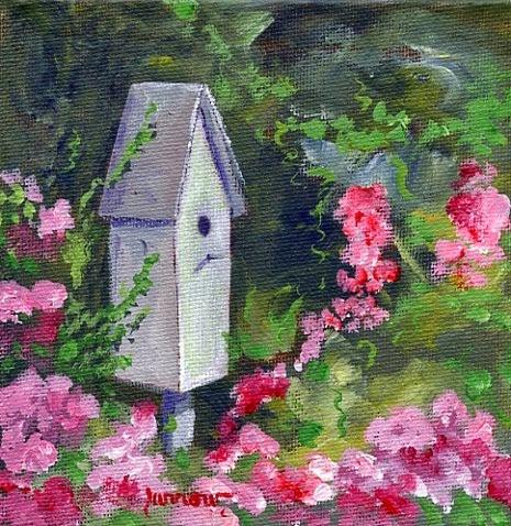 """ORIGINAL SMALL PAINTING BLUEBIRD HOUSE"" original fine art by Sue Furrow"