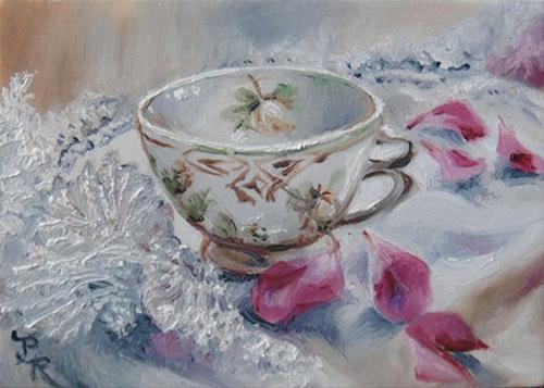 """""""Teacup, Lace & Rose Petals"""" original fine art by Paulie Rollins"""