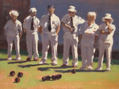 """""""STATE of PLAY - Lawn Bowls"""" original fine art by Helen Cooper"""