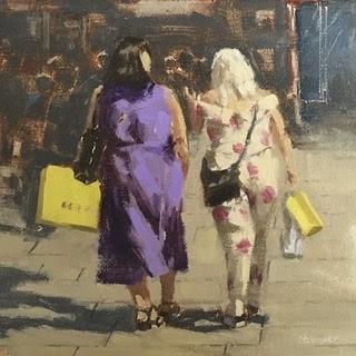 """""""Ladies on Oxford St"""" original fine art by Helen Cooper"""