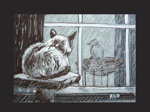 """Bird Watching"" original fine art by Rhett Regina Owings"