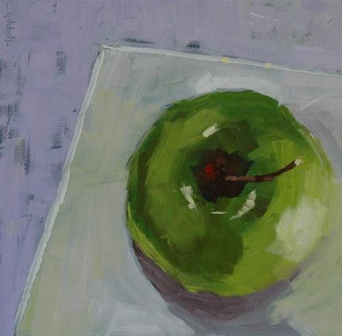 """GREEN APPLE STILL LIFE"" original fine art by Linda Popple"