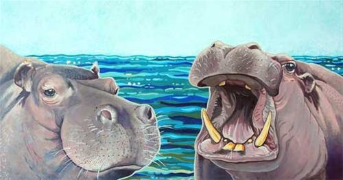 """Hippo Art Acrylic Painting ILLUSTRATION FOR WE ARE HIPPOPOTAMUS by Colorado Artist Nancee Jean Bus"" original fine art by Nancee Busse"