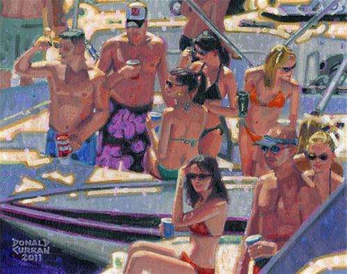"""Boat Party"" original fine art by Donald Curran"