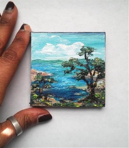 """""""Seascape with Tree"""" original fine art by Camille Morgan"""