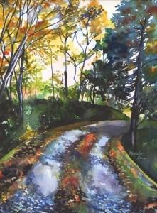 """""""Road in Autumn"""" original fine art by Mariko Irie"""